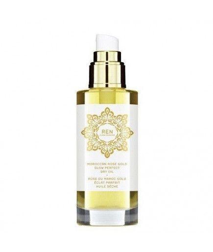 Aceite seco de Oro Resplandor Perfecto - la Rosa de Marruecos - REN de Cuidado de la piel